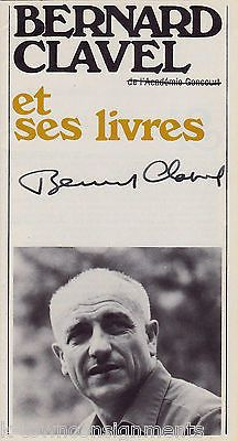 BERNARD CLAVEL FRENCH HUMANIST 'NIGHT WORKER' AUTHOR AUTOGRAPH SIGNED BROCHURE