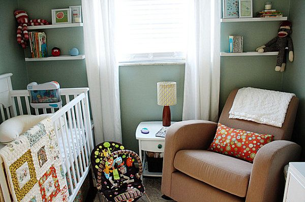 I want to add shelves like this. Modern nursery with colorful details - Decoist