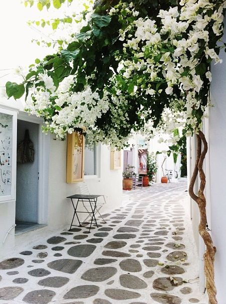 A cobblestone way in Paros, Greece