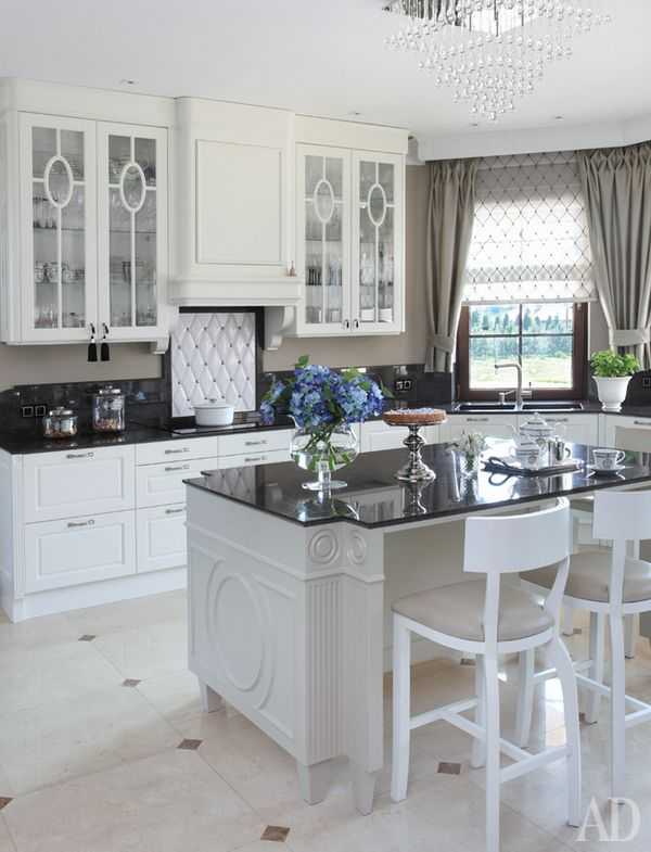 Nice All White With Diamond Accents (almost Tufted Fabric Look Above The Stove)  And Black Great Pictures
