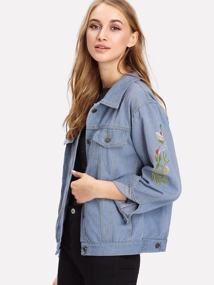 Shop Embroidered Denim Jacket online. SheIn offers Embroidered Denim Jacket & more to fit your fashionable needs.