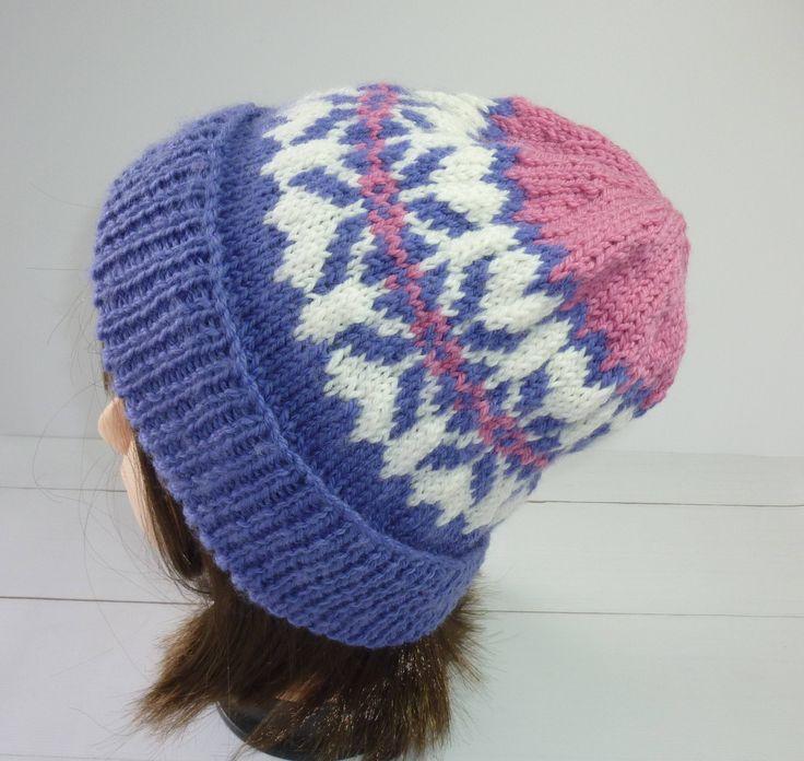 Ladies Knit Beanie. Fair Isle knit hat. Fair isle knit beanie. Large Knit hat. Pink and purple knit hat. Ladies Knit hat.  Wool Beanie. by Thingswelike2knit on Etsy