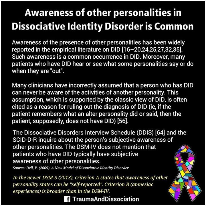 a description of dissociative identity disorder and its diagnoses and treatment 19 shocking dissociative disorder statistics fugue will usually resolve on its own without any treatment 15 of dissociative identity disorder are not.