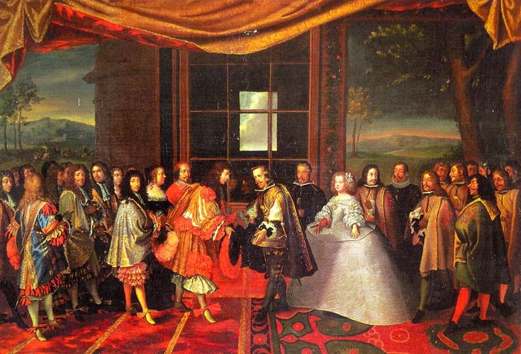 Meeting of Louis XIV of France and Philip IV of Spain in the Isle of Pheasants in 1659 by  Laumosnier.  Here is a graphic example of the differences between the Spanish Court, on the right, and the French, on the left.