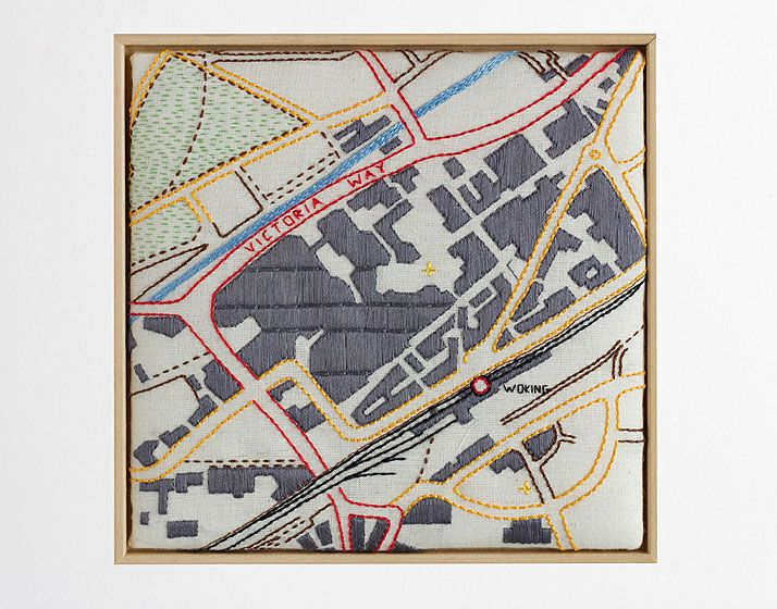 map embroidery by Anna Biss Title : Woking Town Centre Size : 15 x15 cms Price : £80 Hand stitched on cotton fabric. Mainly cotton threads. Back, straight, satin and chain stitch, with some french knots.