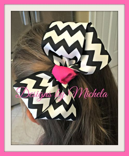 Black and White Chevron with Pink Hairbow