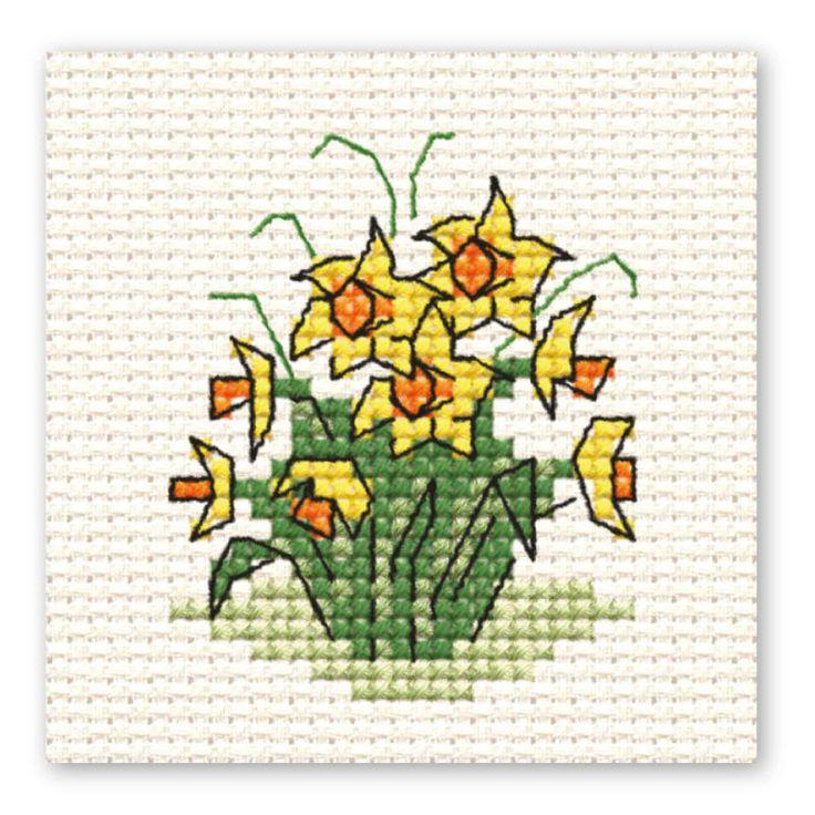 Hobbycraft Easter Daffodil Bunch Mini Cross Stitch Kit