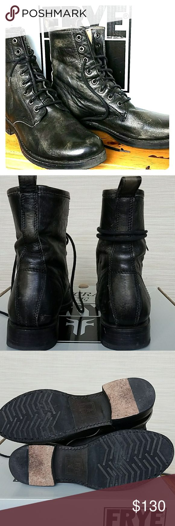 FRYE Veronica Combat Boots FRYE Veronica Combat Boots Black Leather Burnished Finish.  Gently  worn just a few times. Heels & leather soles great shape.  No scuffs or scratches or tears.  Leather has burnished/distressed finish. Frye Shoes Combat & Moto Boots