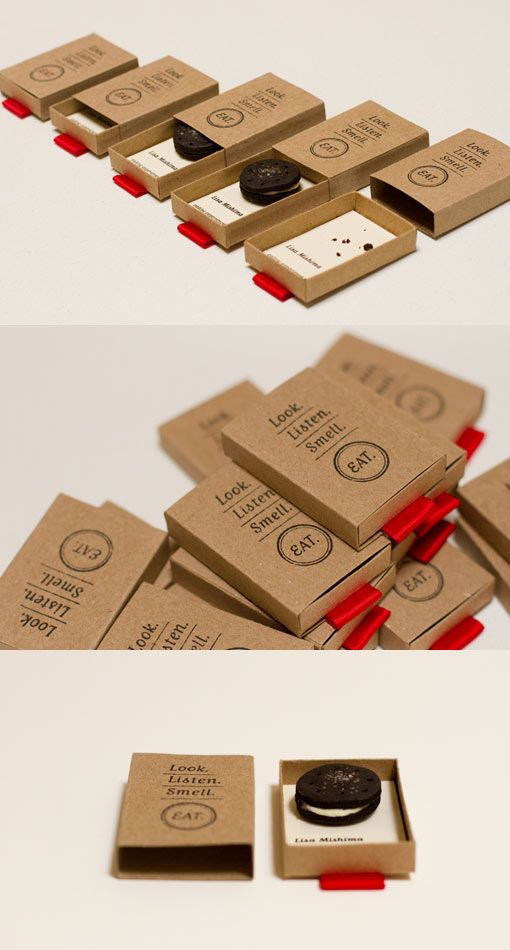 It's a matchbox style container made from kraft paper, rubber stamped with the logotype. When you pull the red tab to read the contact info, you'll also find a surprise treat. By Lisa Mishima