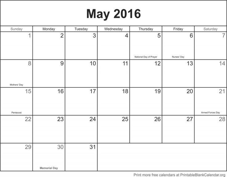Mer enn 25 unike ideer om May calendar 2016 printable på Pinterest - sample blank calendar