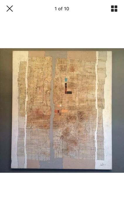 Huge abstract Midcentury mixed media  painting  —