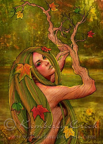 earth spirit fall autumn dryad fairy painting by Kimberly Crick