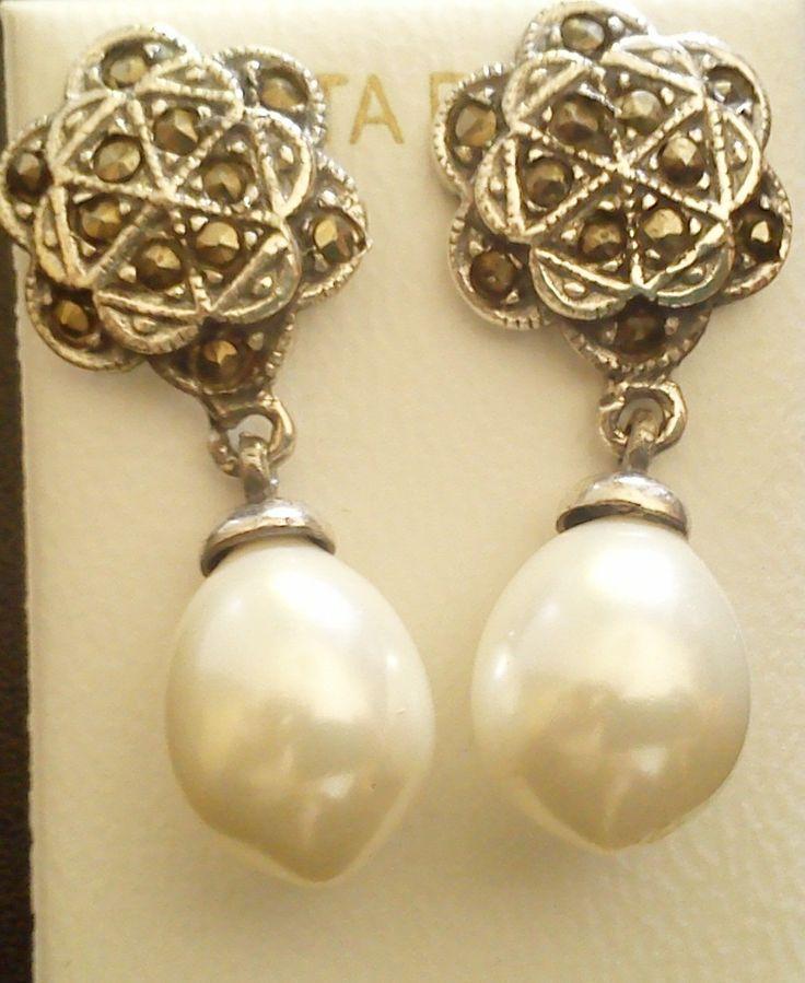 Pendientes de plata en marquesitas con perlas, siempre en http://maicci.es/es/