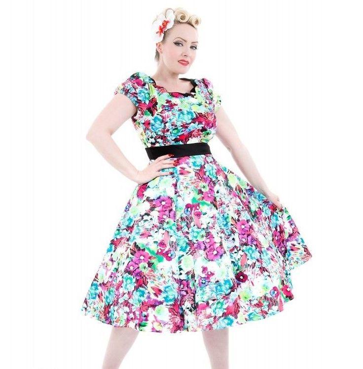 H & R London Summer Flourish Long Dress Rockabilly Vintage Pinup Hearts Roses