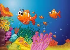 Illustratie Van Groep Vissen In Een Blauwe Water Royalty Vrije Cliparts, Vectoren, En Stock Illustratie. Pic 14408838.