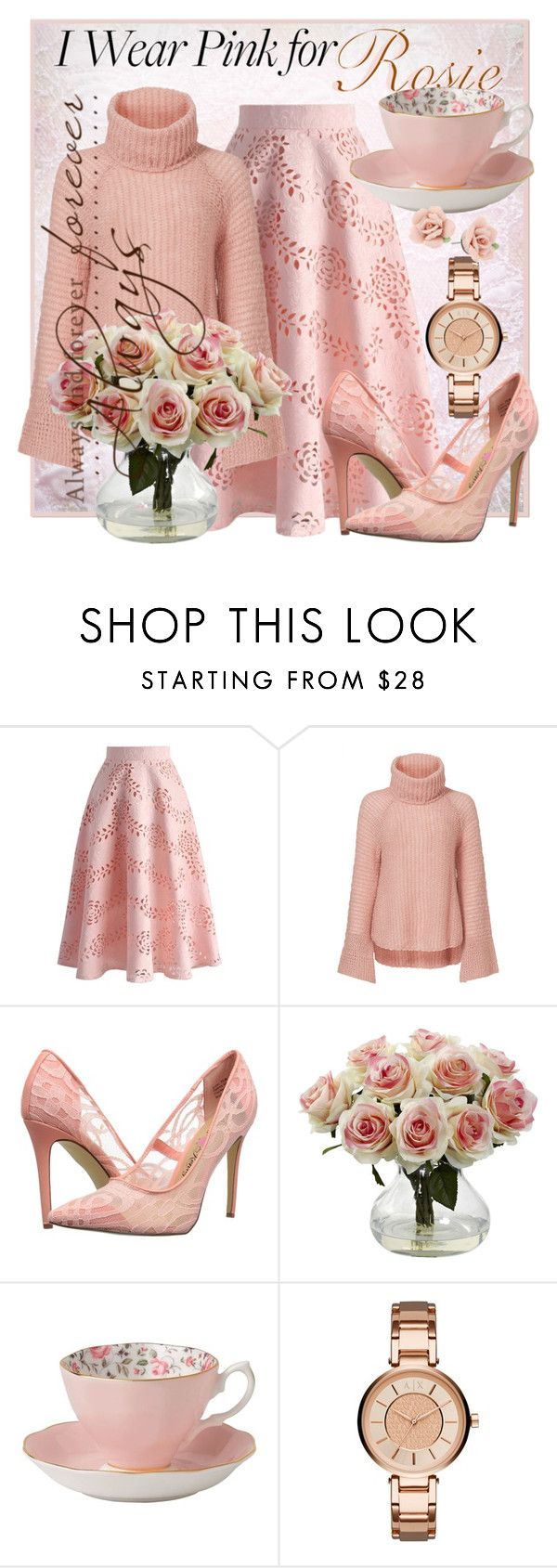 """""""I Wear Pink For ... Rosie"""" by geewhizart ❤ liked on Polyvore featuring Chicwish, Calypso St. Barth, Penny Loves Kenny, Royal Albert, Armani Exchange, 1928 and IWearPinkFor"""