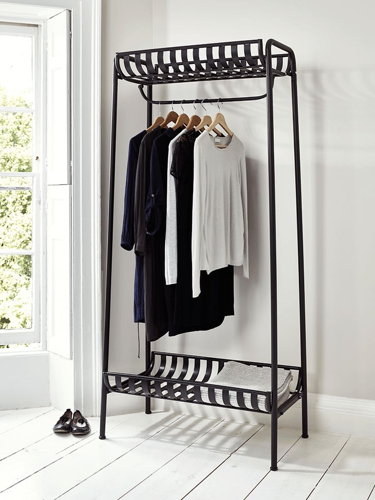 Strong, sturdy and the ultimate industrial style, our weighty cold-rolled steel clothes rail looks just like wrought iron with a distressed finish. A great way to display your favourite clothes, each rail includes a handy shelf both above and below, and can be used in place of a wardrobe in your bedroom, or as a coat rail in the hallway. This product is not available for Next Day Delivery in the UK and due to the size and weight of this item it is not currently available for international…