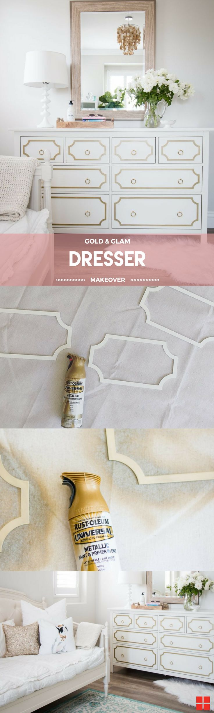 DIY your dresser for the perfect bedroom makeover. This Hemnes Ikea hack is the perfect idea to add glam and organization to your bedroom decor. This refurbished and upcycled dresser is amazing for girls or for teens, and will be an amazing modern styling accent. Thank you to Courtney from 'A Thoughtful Place' for the inspiration, using Rust-Oleum Universal Metallic Spray in Pure Gold. http://spr.ly/6497DJPpR