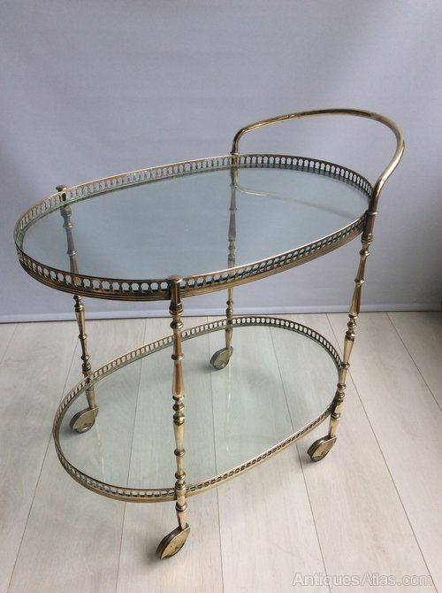 Antiques Atlas - Vintage French Brass Drinks Trolley/bar Cart