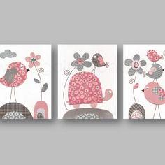 Lot de 3 illustrations 30x40 cm pour chambre d'enfant et bebe, gris, rose
