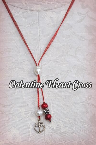 Valentines Heart Cross - cute diy necklace. Maybe a project with the kids for valentines day :)