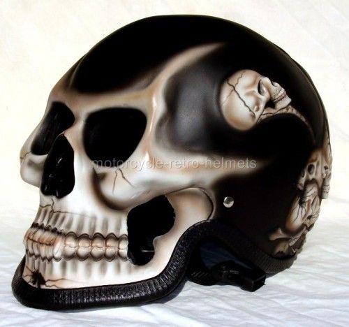 Skull Skeleton GHOST RIDER Black Fullface Motorcycle 3D Helmet - Motorcycle Retro Helmets