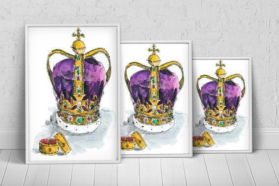 Royal Crown Art Print Poster on Etsy, $27.35 AUD