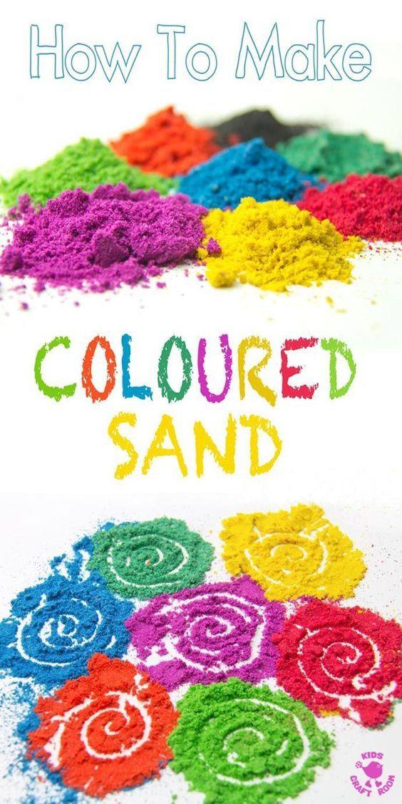 DIY coloured sand // kids craft ideas