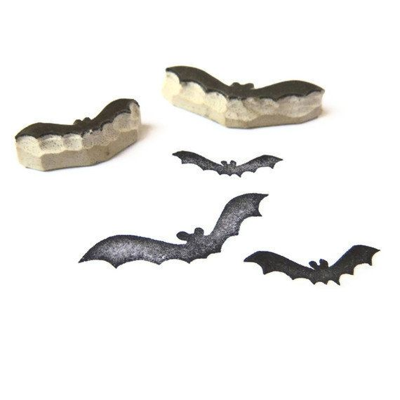 Haunted Halloween Bats Rubber Stamp Set Cling By Creatiate Bat Stamps