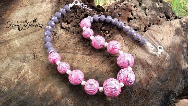 Collana perle fimo fucsia viola fatta a mano anallergica fimo , by Evangela Fairy Jewelry, 15,00 € su misshobby.com