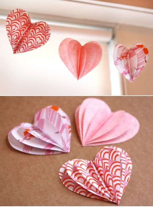 Paper Puffy Hearts: Valentine'S Day, Heart Crafts, Idea, 3D Paper, Paper Hearts, Valentine'S S, Valentines Day, Paper Crafts, Paper Heart Garlands
