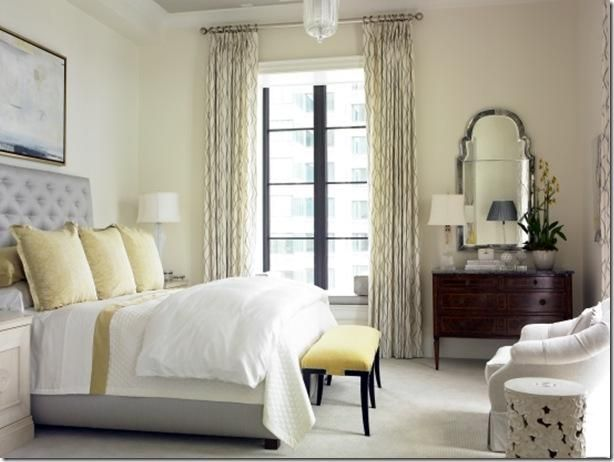 Bedrooms   Gray Tufted Headboard Garden Stool Yellow Silk Pillows Yellow  Bench Mirror Yellow Gray Bedroom Second View Of Lovely Creamy, Gray, Part 98