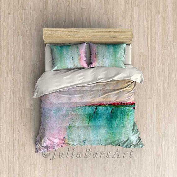 Pink Duvet Cover Turquoise Duvet Beach Duvet Pink Comforter
