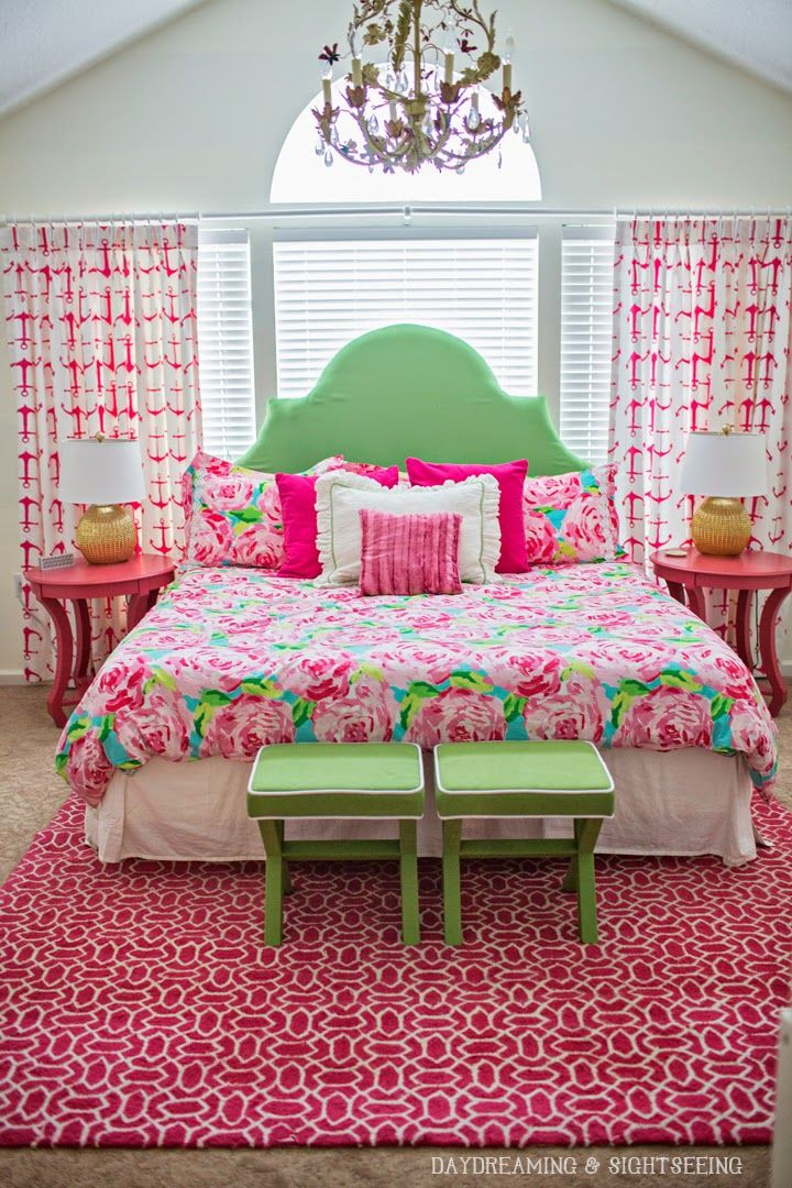 """Lilly Pulitzer bedroom with a """"First Impression"""" comforter from Garnet Hill... LOVE!!"""