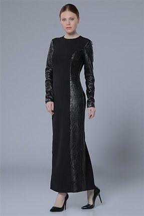 Deri Detaylı Elbise