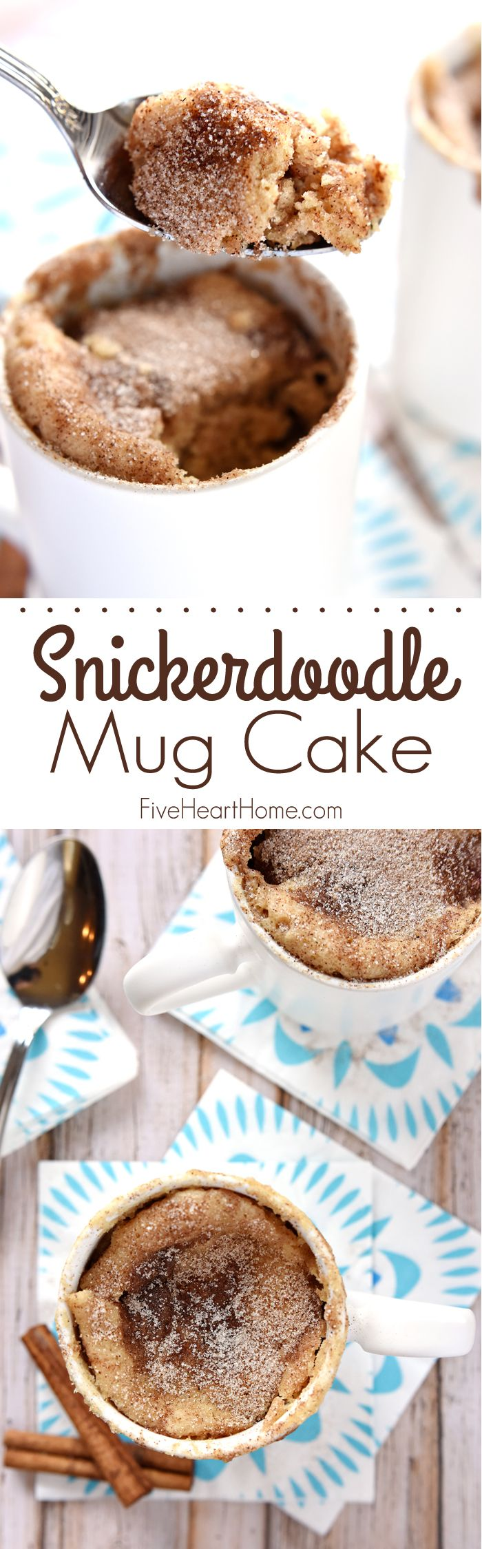 Snickerdoodle Mug Cake. Bakes up in the microwave in just one minute, yielding a warm, cinnamon-sugary treat that will satisfy any sweet tooth! | FiveHeartHome.com.