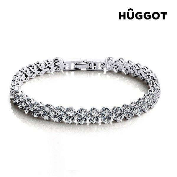 Hûggot Chained Love Rhodium-Plated Bracelet with Zircons, only 27.99e