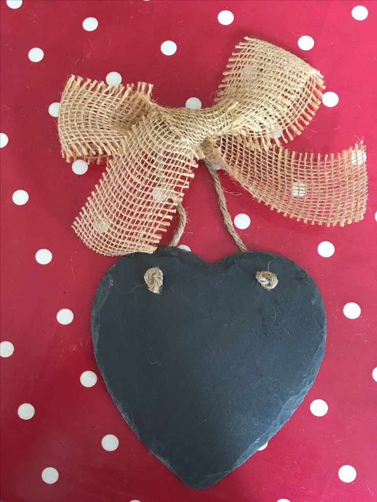 Slate hearts with hessian bow can be personalised with any message