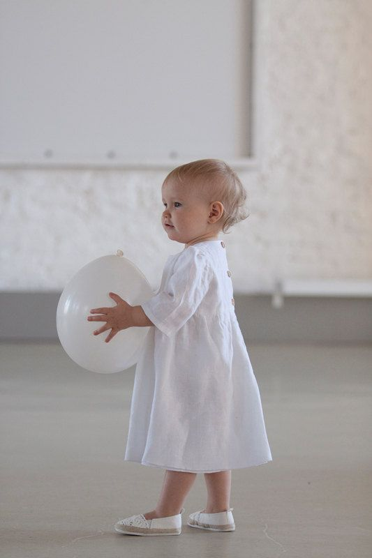 Baptism dress Linen simple Baby girl Brigh white by MarumaKids