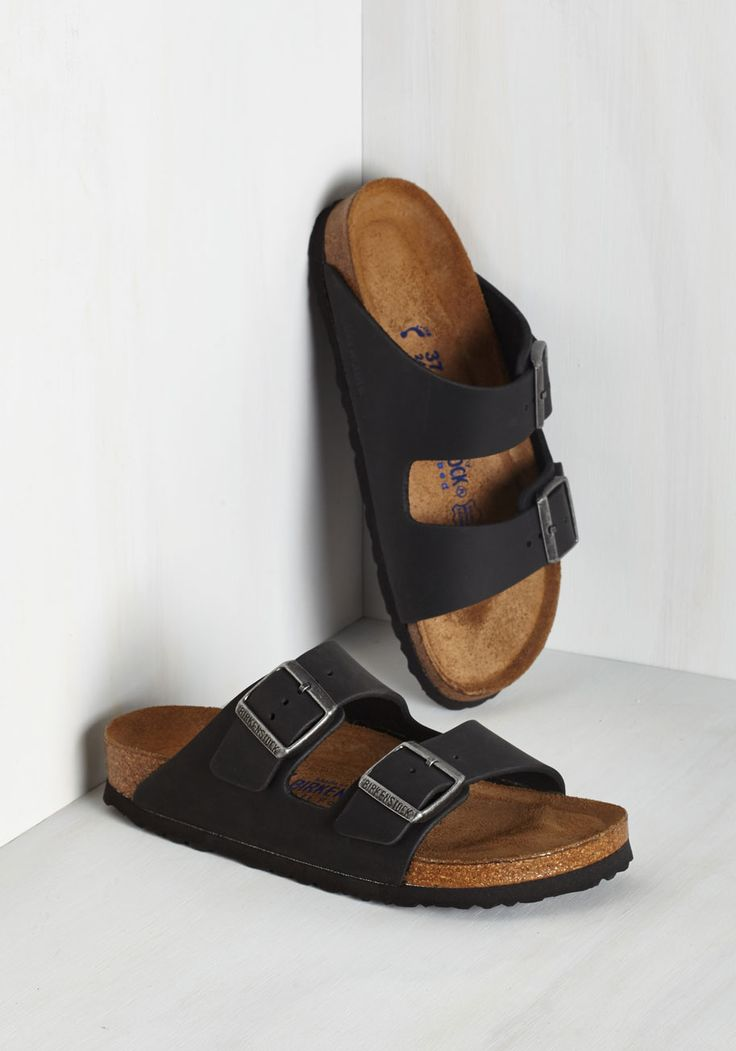 Strappy Camper Sandal in Black. Set up your tent, kick off those hiking boots, and step into these Birkenstock Arizona sandals! #black #modcloth