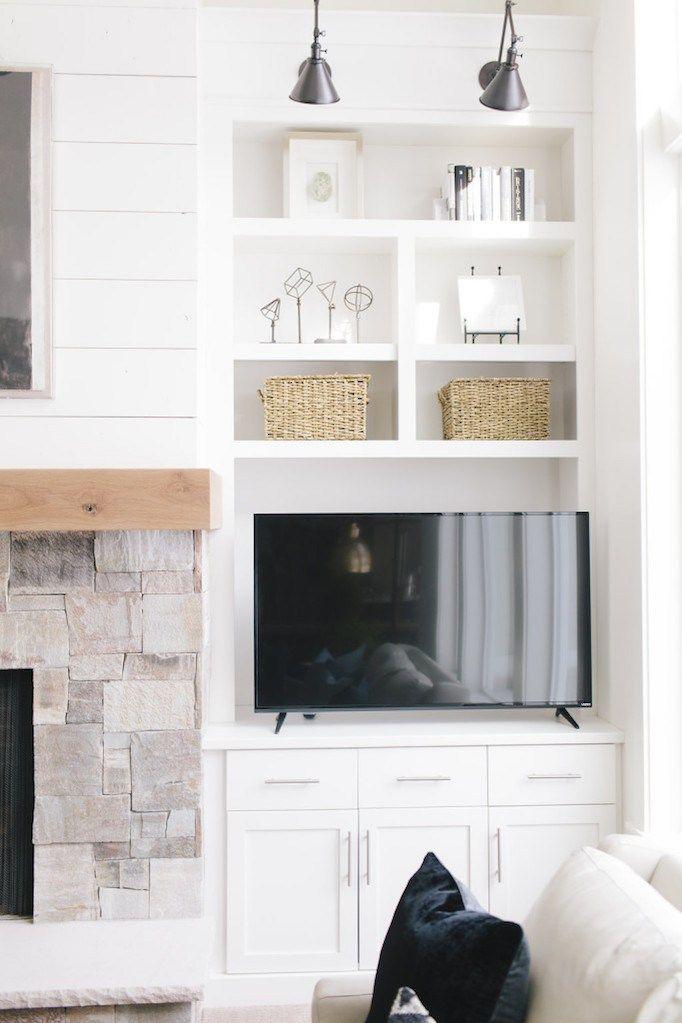 10 Ideas For Media Wall Built Ins Becki Owens Cottage Living Rooms Fireplace Built Ins Room Remodeling