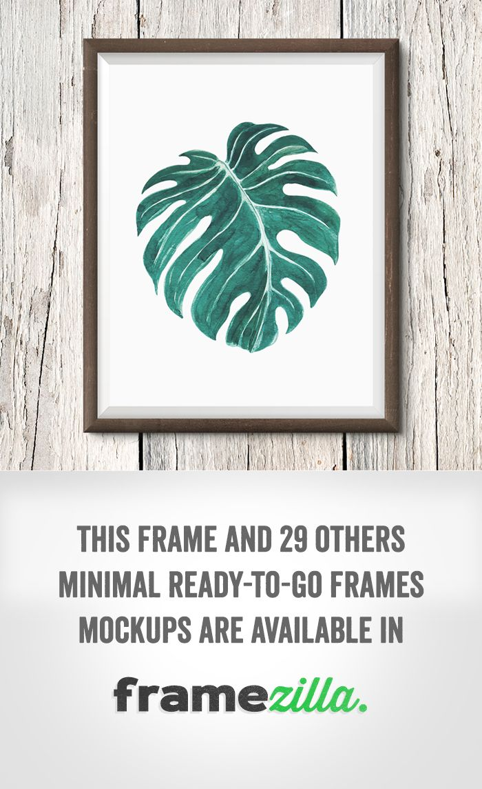 "One of the frames available in ""Framezilla"" - set of 30 frame mockups to show your print. #print #frame #mockup #wall #quote #wooden #monstera #tropical"