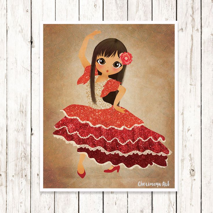 Flamenco Dancer Art Print Spanish Dancer Print  Flamenco  Art Illustration Dancer Wall Art Ballerina Spanish Whimsical Prints  Girl Decor by CherimoyaArt on Etsy $25.00