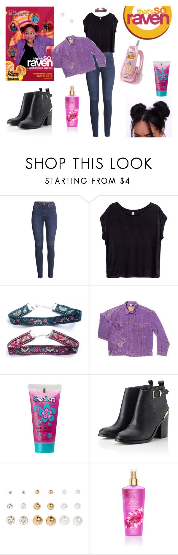 """""""That's So Raven Costume !"""" by milena-serranista ❤ liked on Polyvore featuring H&M, Moonchild, Uniden, Levi's, Bonne Bell, Chanel, Lipsy, Raven Denim and Victoria's Secret"""
