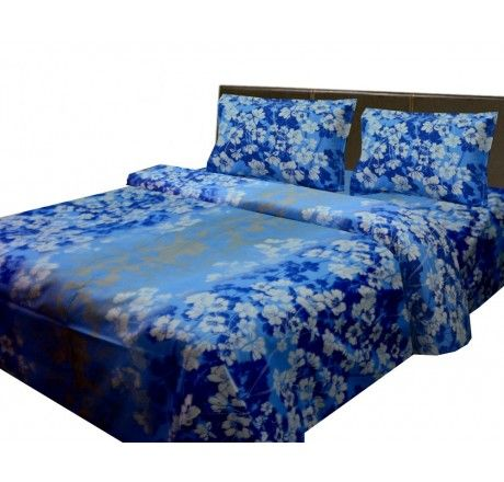 Buy Cotton bedsheets with white color flowers on aqua base @ 599 Only. Visit Loomkart.com for more offers & discounts on Bed Sheets.