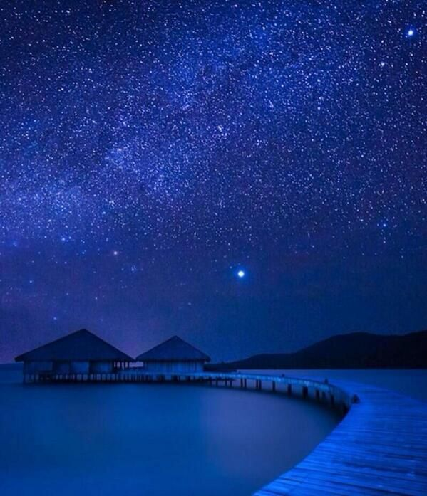 Bora Bora under the stars. I want to go there! Look at all the stars!