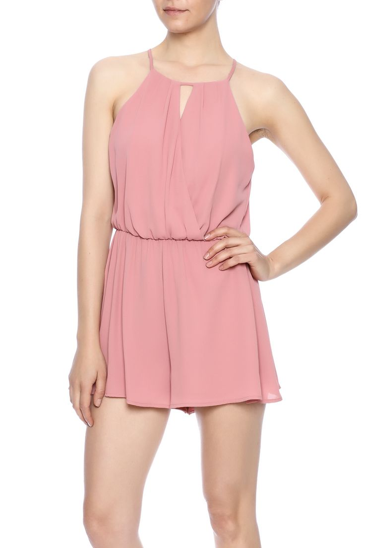 Rose romper with a keyhole cut out at the front, elastic waist and button back closure.   Rose Keyhole Romper by Lush. Clothing - Jumpsuits & Rompers - Rompers San Diego, California