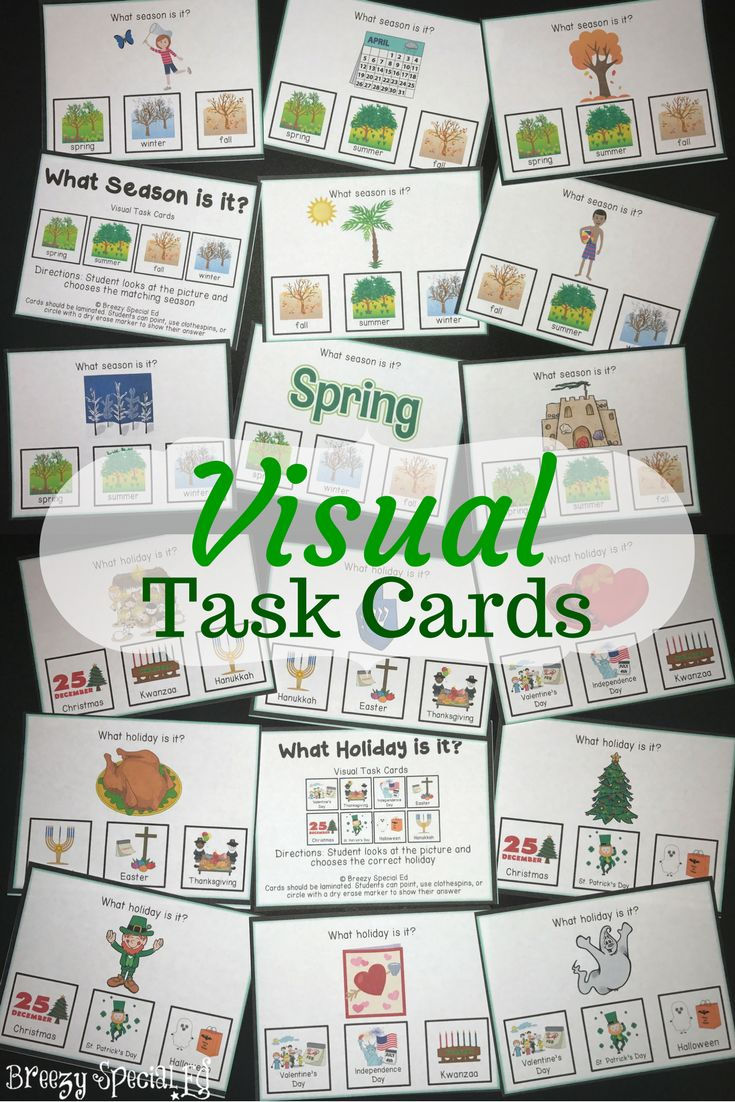 "These 56 task cards work on recognizing what things represents various seasons and holidays.  Visual task cards are perfect for work boxes in special education classes! Each task card follows the same format, ""What season is it?"" or ""What holiday is it?"" and then a picture and three visual answer choices at the bottom."