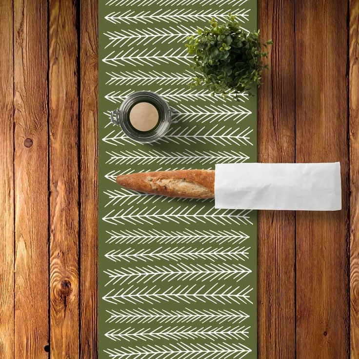 Pine Branches Table Runner, Organic Cotton, Made In Montreal! Choose A  Color And