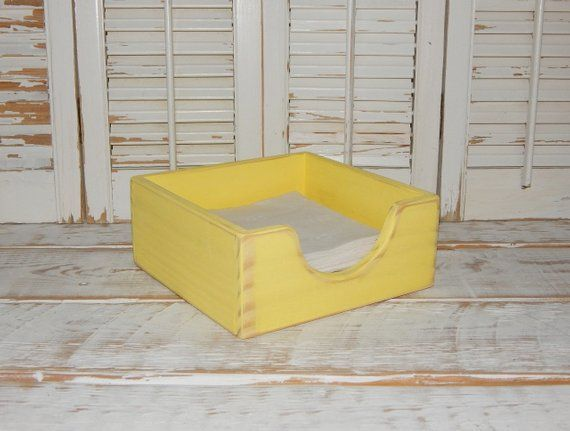 Distressed Napkin Holder Kitchen Table Decor Storage Napkin Wood Crate Primitive Rustic Napkin Hold